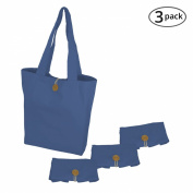 Simple Ecology Organic Cotton Folding Tote with Closure - Blue
