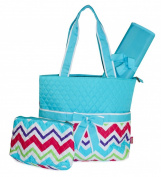 Blue Multicolor Chevron Quilted Nappy Bag with Changing Pad and Accessory Case - 3 Piece