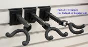 Top Stage® Set of 10 Guitar Hanger Slatwall Black Steel Foam 7.6cm OC Adjustable 270° JX11-Q10