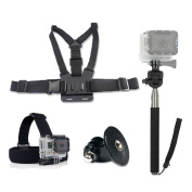 GoPro Accessories Kit (4 in 1) - Peyou® Sport Camera Accessory Combo Kit for GoPro HD Hero 1 2 3 3+ 4 Elastic Adjustable Head Strap Mount + Chest Mount Harness + Replacement GoPro Tripod Mount + Extendable Self-portrait Monopod