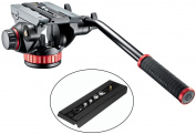 Manfrotto 502HD Pro Video Tripod Head with Flat Base w/ Fluid Pan & Drag System and with Built-In Counterbalance and a Bonus Quick Release Plate