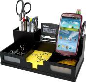 Midnight Black Desk Organiser with Smart Phone Holder