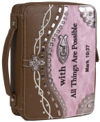 Blue Heaven Brown Pink Faux Leather Rhinestone Bible Cover