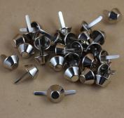 50 Pieces Nickel Plate Bottom Stud Bag Feet/Silver Cone Studs Purse Feet Spike Nailheads Brad 15mm leathercraft Findings