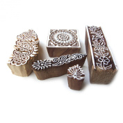 Assorted Hand Carved Floral Wooden Block Printng Design Tags