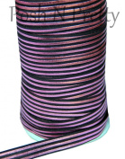 Sparkle 5 Yards Yards Foil Print Fold Over Elastic - Multi Stripe lines Black/Pink. High quality Elastic