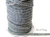 5 YARDS 3/8 Glitter Stretch Velvet Elastic Metallic NO FLAKE Trim- SILVER