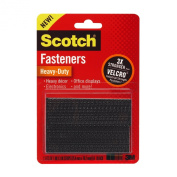 3M Scotch All-Weather Fasteners, 8 Sets of 1 x 3 Strips, Black