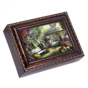 Special World Dark Burl Wood Finish with Gold Trim Jewellery Music Box - Plays Tune Pachelbel's Canon in D
