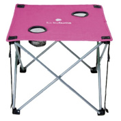 Lucky Bums Camp Table Folding Lightweight Compact Durable with Cup Holders and Carrying Bag, Pink.