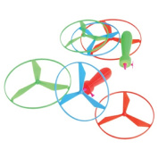 Dozen Assorted Colour Helicopter Type Pull String Flying Disc Toys 13cm