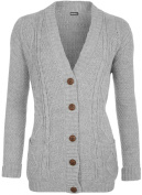 Womens Cable Knitted Button Cardigan Long Sleeve Ladies Boyfriend Top Sizes 8 - 14