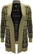 LADIES WOMENS GIRLS OWL DESIGN KNITTED WARM WINTER OPEN CARDIGAN TOP