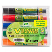 Pilot BeGreen V Board Master Whiteboard Markers, Chisel Point, 5-Pack, Assorted Colours
