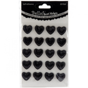 Bella! Wedding Self-Adhesive Hearts 20/Pkg-Black