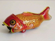 Wind-Up Tin Toy Big Fish Eats Small Fish Red Gold Black