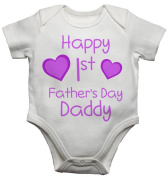 Happy 1st First Fathers Day Daddy Girls Baby Vest Bodysuit Baby Grow