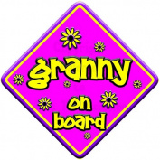 "FLORAL * granny on board "" novelty baby on board car window sign"