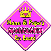 SWIRL JEWEL * Nana & Papa's GRANDDAUGHTER * On Board Novelty Car Window Sign