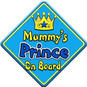 SWIRL JEWEL * Mummy's Prince * On Board Novelty Car Window Sign