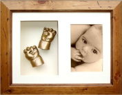 BabyRice 3D Baby Casting Kit with Rustic Wooden Display Frame, Gold painted Hand and Foot casts