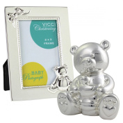 Silver Plated Bear Money Bank and Photo Frame Set by VICCI