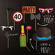 Ginger Ray 40th Birthday Party Photo Booth Props - Photo Booth Range Decorations