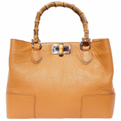 Leather bag with wooden handle 9138