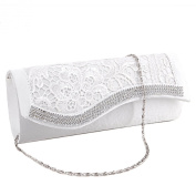 Floral Lace Stain Crystal Diamantes Evening Clutch Wedding Bridesmaid Bag