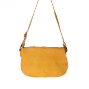 Woman's shoulder bag soft leather garment-dyed strap DUDU Saffron Yellow