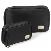 BMC Super Cute 2pc Large Midnight Black Soft Fabric Style Travel Cosmetic and Jewellery Case Set