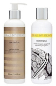 For All My Eternity Natural 10 Self Tan Lotion / Cream 250ml Sunless Tanner with CERTIFIED ORGANIC DHA & ALOE VERA plus Sweet Orange & Grapefruit Natural Pre-Tan Exfoliating Body Scrub / Wash 250ml