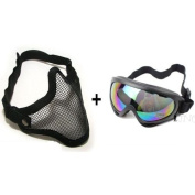 2 in 1 Tactical Military Metal Mesh Mask + Protection Goggles Shooting Airsoft