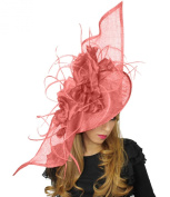 Large 90cm Elisaveta Sinamay, Silk and Feather Ascot Fascinator Hat - With...