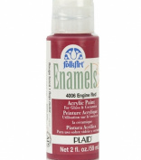 FolkArt Enamel Glass & Ceramic Paint in Assorted Colours (60ml), 4006, Engine Red