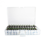 FotoTech Clear AA/AAA Plastic Battery Storage Case/Organiser/Holder (Holds 46 AA batteries or 64 AAA batteries) with FotoTech Microfiber Cleaning Cloth