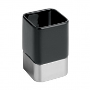 InterDesign Gia Bathroom Vanity Tumbler, Black/Brushed