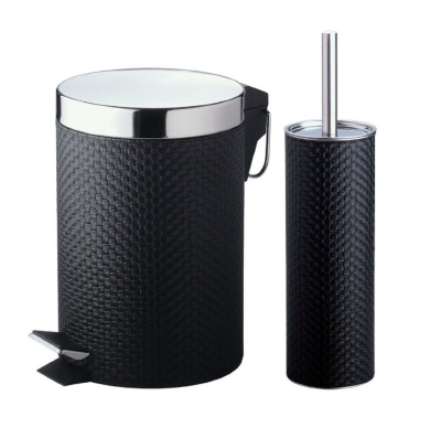 2 pc black pvc toilet brush holder 3l one step pedal bin bathroom accessories
