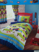 Childrens boys girls double bed duvet set new diggers bedding quilt cover set navy blue green trucks
