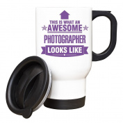PURPLE This is what an AWESOME Photographer Looks like TRAVEL Mug - Gift idea work