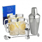 Mason Jar Cocktail Set - Vintage Cocktail Making Kit including 4 Jam Jar Glasses, Shaker and Recipe Book