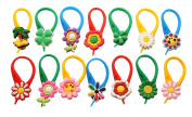 14 pcs Small Flowers Colourful Glass Charms Wineglass Drink Marker