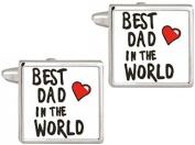 Silver/White Best Dad In The World Cufflinks by David Van Hagen