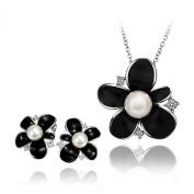Fashion tall 18 k white gold plated black flowers with pearls suits