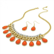 Ladies Matt Gold Colour Crystal And Orange Colour Bead Chain Necklace And Earring Set.