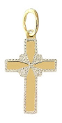 Hobra GOLD CROSS PENDANT 585 Gold-Small GOLDKREUZ IN ZWEIFARBENGOLD 14 CT GOLD PENDANT WITH