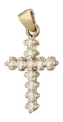 Hobra GOLD 585 GOLD SMALL CROSS PENDANT WITH ZIRCONIA GOLDKREUZ 14 CT GOLD PENDANT WITH CROSS