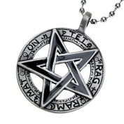 Black Pentagram Pendant with Hieroglyphs, Ball Chain - Gothic