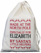 Personalised - Made at the North Pole design - SMALL Natural Cotton Drawstring Bag 25cm x 35cm