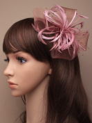 Allsorts® Dusky Pink Looped Beak Clip Feather Hat Fascinator Ladies Day Royal Ascot Weddings